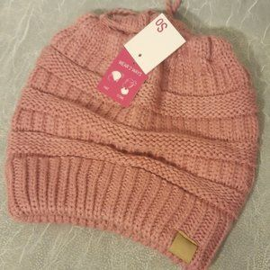 Messy Bun Beanie or Cowl Scarf Dusty Pink New